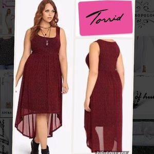 Torrid High Low Red Cheetah Dress